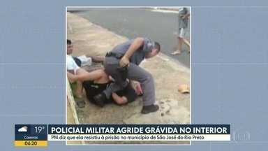 Policial militar agride mulher grávida em São José do Rio Preto - Segundo o policial, ela teria resistido à prisão após uma abordagem. Mãe e bebê passam bem.