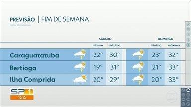 Temperaturas voltam a subir mais no fim de semana - Possibilidade de chuva está mantida todos os dias. Confira os detalhes.