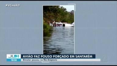 Avião bimotor faz pouso forçado em comunidade do rio Arapiuns, em Santarém - Na aeronave estavam o piloto, co-piloto e dois passageiros. Todos sobreviveram.
