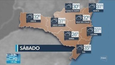 Confira a previsão do tempo para Santa Catarina - A partir da tarde, deve haver pancadas de chuva