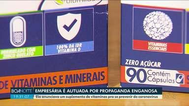Empresária é autuada por fazer propaganda de vitaminas contra o Coronavírus - O caso aconteceu em Almirante Tamandaré, na região metropolitana de Curitiba.