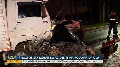 Motorista morre em acidente na Rodovia da Uva - Batida foi entre um carro e um caminhão na região do Santa Cândida.