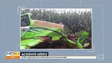 Peritos da Aeronáutica vão investigar as causas da queda de um avião agrícola - O avião caiu em uma fazenda, onde seria usado na aplicação de inseticida numa lavoura. O piloto morreu.