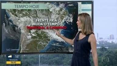 Confira a previsão do tempo para esta segunda-feira (10) - Previsão de temporal para esta segunda-feira (10).