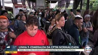 Linha 9-Esmeralda continua circulando com velocidade reduzida - Ontem, trens não rodaram entre as estações Santo Amaro e Osasco