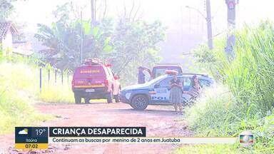 Corpo de criança é avistado em área de buscas por menino desaparecido em Juatuba - Menino de 2 anos sumiu na quarta-feira (12).