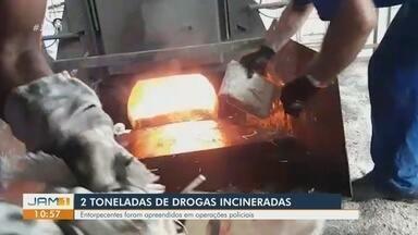 2 toneladas de drogas são incineradas em Manaus - Entorpecentes foram apreendidos em operações policiais.