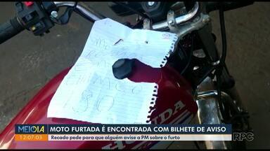 Moto furtada em Maringá é encontrada com bilhete - Veículo foi deixado em Paiçandu.