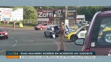 Duas mulheres morrem em acidentes no sudoeste - As batidas foram em Vitorino e em Dois Vizinhos.