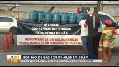 Petroleiros vendem botijões de gás a R$ 40 como forma de protesto em greve - Petroleiros vendem botijões de gás a R$ 40 como forma de protesto em greve