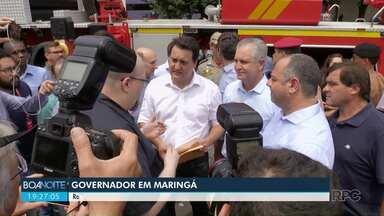 Ratinho Junior em Maringá - Ratinho Júnior entregou caminhão para os bombeiros e assinou liberação de dinheiro para obras
