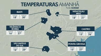 Previsão de sol neste sábado (15) - No domingo tem frente fria se aproximando, há condição de chuva.