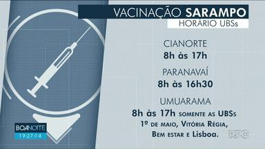 Neste sábado (15) tem dia D de vacinação contra o Sarampo - Veja o horário de funcionamento dos postos de saúde nas três principais cidades do Noroeste.