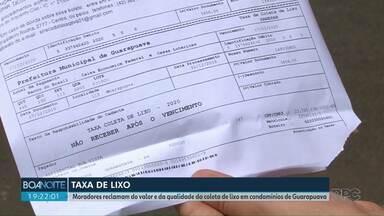 Moradores de condomínios de Guarapuava reclamam da taxa de lixo - Eles estão descontentes com o valor, forma de pagamento e também com a qualidade do serviço.