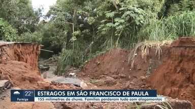 Prefeitura de São Francisco de Paula registra mais de 150 milímetros de chuva - Mais de 30 pessoas estão desabrigadas na cidade após a forte chuva registrada nesta quinta-feira (13).