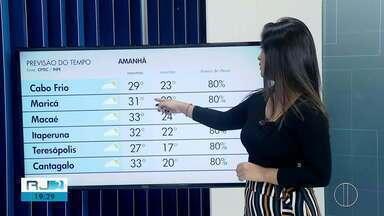 Confira a previsão do tempo para este sábado, 15 de fevereiro de 2020 - O RJ2 traz as temperaturas das cidades do interior do Rio.