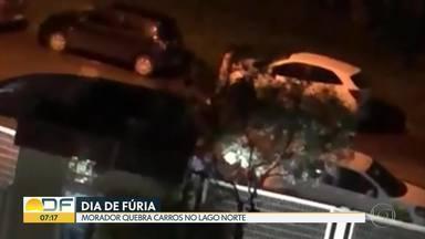 Em dia de fúria, morador quebra carros no Lago Norte - Segundo a polícia, ele também ofendeu os investigadores e ameaçou uma agente. Vizinhos dizem que não é a primeira confusão envolvendo o homem.