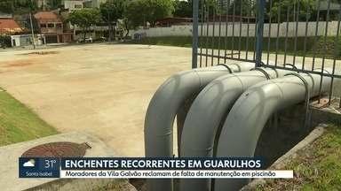 Moradores da Vila Galvão reclamam da falta de manutenção no piscinão - Além dos moradores, comerciantes da Vila Galvão, em Guarulhos. reclamam que continuam sofrendo com as enchentes.