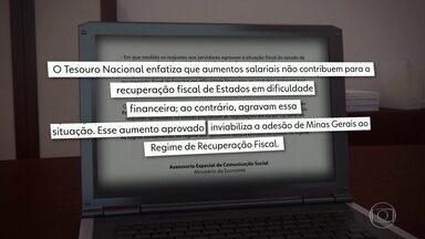 Tesouro afirma que aumentos salariais inviabilizam adesão de Minas à recuperação fiscal - O estado vive uma das piores crises financeiras do país, com atraso no 13º. Os reajustes podem impactar ainda mais as contas do governo.