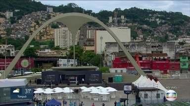 Praça da Apoteose está sendo preparada para apuração do Grupo Especial - Os portões serão abertos às 14h. A expectativa é grande para a grande vencedora do carnaval 2020.