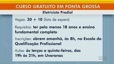 Curso gratuito de eletricista predial oferece 30 vagas em Ponta Grossa - Interessados devem fazer inscrição a partir das 8h de sexta-feira (28).