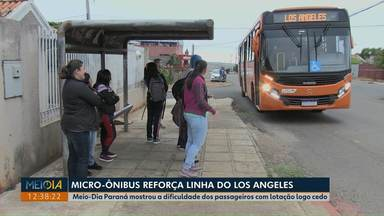 Micro-ônibus reforça linha do Los Angeles, em Ponta Grossa - Meio-Dia Paraná mostrou a dificuldade dos passageiros com lotação no ônibus logo cedo.