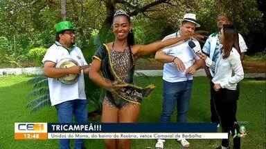 Tricampeã Unidos do Morro comemora título do Carnaval de Barbalha - Saiba mais em g1.com.br/ce