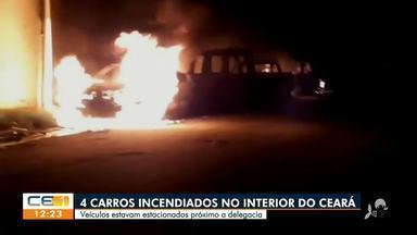 Carros estacionados próximos a delegacia são incendiados no interior - Saiba mais no g1.com.br/ce
