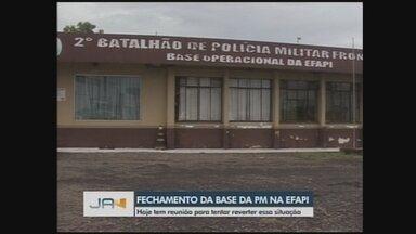 Moradores protestam por base da PM que pode fechar por problema estruturais em Chapecó - Moradores protestam por base da PM que pode fechar por problema estruturais em Chapecó