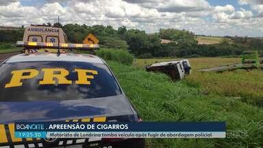 Motorista londrinense é preso tentando fugir da polícia na BR-376 - Segundo os policiais ele estava transportando cigarros contrabandeados do Paraguai