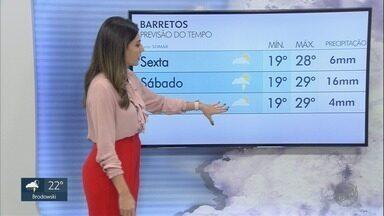 Veja a previsão do tempo para esta sexta-feira (28) na região de Ribeirão Preto - Previsão é de chuva no começo do fim de semana.