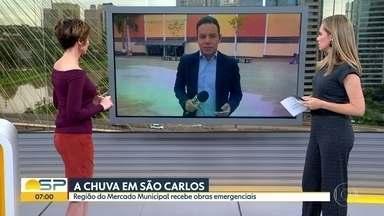 A chuva em São Carlos - Região do Mercado Municipal recebeu obras emergenciais.