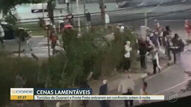 Torcedores de Ponte Preta e Guarani entram em confronto antes de jogo em Campinas - Confusão também envolveu integrantes de organizada do Vila Nova na noite de quinta-feira (27).