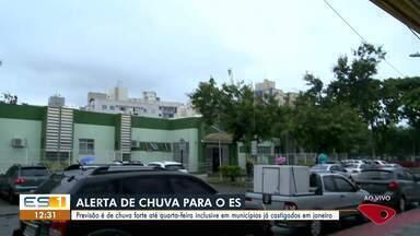 Instituto alerta para chuvas intensas no ES neste fim de semana - Previsão é de chuva forte até quarta-feira inclusive em municípios já castigados em janeiro.