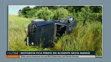 Motorista fica ferido em acidente no contorno leste de Ponta Grossa - Batida na manhã deste sábado (29) envolveu dois carros.