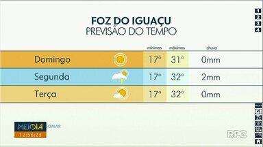 Confira a previsão do tempo para este fim de semana no oeste e no sudoeste do estado - Em Foz do Iguaçu, só na segunda-feira há previsão de pancadas de chuva.