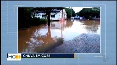 Chuva provoca alagamentos e deixa moradores ilhados em Córrego Danta - O córrego que corta a cidade transbordou e alagou o acesso ao Bairro do Rosário.