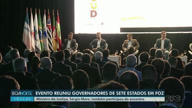 Evento reuniu governadores de sete estados em Foz do Iguaçu - Ministro da Justiça, Sérgio Moro, também participou do encontro. O governador, Ratinho Júnior, do PSD, recebeu os participantes.