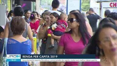 Renda Per Capita 2019 - Levantamento aponta Rondônia como estado da região norte com melhor desempenho.