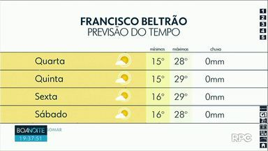 Quarta-feira de tempo aberto nas regiões Oeste e Sudoeste - Temperaturas ficam na casa dos 30 graus na maioria das cidades.
