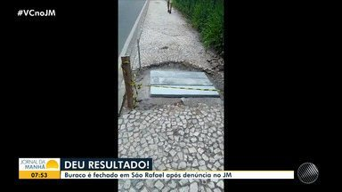 Após denúncia no JM, buraco em calçada é resolvido no bairro de São Rafael - Moradores da região se queixaram da cratera, na edição de quinta-feira (5).