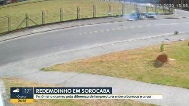 Flagrante de redemoinho em Sorocaba - Fenômeno atingiu uma barraca de espetinhos; vendedor se assustou