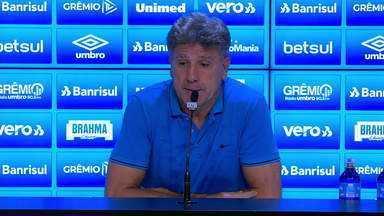 Confira a entrevista coletiva do técnico Renato Gaúcho após Grêmio 3x2 São Luiz - Assista ao vídeo.