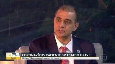 Coronavírus: Rio tem o primeiro paciente em estado grave - Secretário estadual de Saúde, Edmar Santos comenta sobre as medidas tomadas pelo estado para tentar conter o avanço do novo coronavírus.