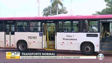 Decreto do GDF não altera funcionamento de ônibus e metrô - A Secretaria de Educação mandou bloquear os cartões do passe livre.