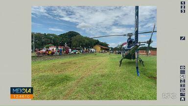 Criança de 9 anos é atropelada por trem em Mandaguari - Helicóptero do Samu foi ao local para fazer o atendimento da criança.