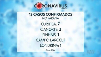 Sobe para 12 o número de casos confirmados de coronavírus no Paraná - Em Curitiba, de acordo com o boletim da Secretaria Estadual de Saúde, são 7 casos confirmados da doença.
