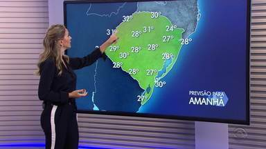 Quarta-feira (18) deve ter chuva com alerta para temporais no RS - Temperaturas aumentam e ficam perto dos 30 graus.