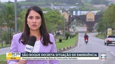 São Roque decreta estado de emergência - A cidade registra 28 casos suspeitos do novo coronavírus. Com isso, as vinícolas e restaurantes da Rota do Vinho, que são muito procurados por turistas, serão fechados.