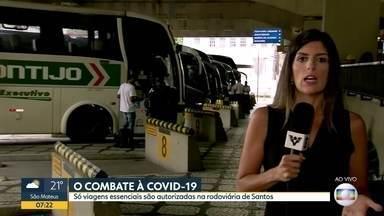 Rodoviária de Santos autoriza apenas viagens essenciais. - Movimento é baixíssimo no principal terminal de ônibus da Baixada Santista.